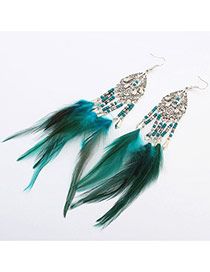 Fashion Green Beads Weaving&feather Pendant Decorated Tassel Earring