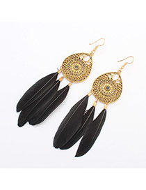 Fashion Black Hollow Out Waterdrop Decorated Feather Tassel Earring