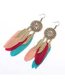 Fashion Multi-color Hollow Out Round Decorated Feather&leaf Tassel Earring