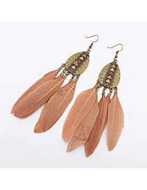 Fashion Light Pink Rivet Decorated Feather Tassel Pendant Earring