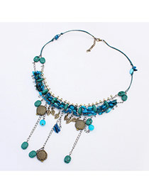 Fashion Blue Shell Weaving Tassel Pendant Decorated Short Chain Necklace