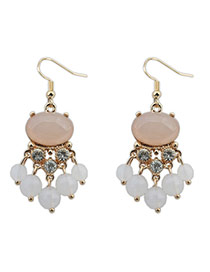 Fashion Light Pink Diamond Decorated Tassel Simple Earrings