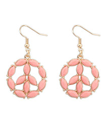 Lovely Pink Whaterdrop Shape Gemstone Decorated Round Earrings