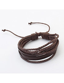Elegant Dark Coffee Pure Color Decorated Multilayer Bracelet