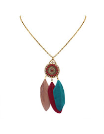 Fashion Multi-color Feathers Pendant Decorated Water Drop Shape Necklace