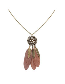 Fashion Black+pink Feathers&leafs Pendant Decorated Hollow Out Round Shape Necklace