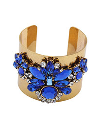 Exaggerated Blue Oval Shape Diamond Decorated Opening Simple Bracelet