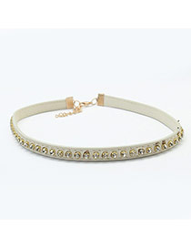 Trendy White Square Diamond Decorated Pure Color Choker