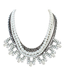 Fashion White Oval Shape Diamond&pearls Decorated Multi-layer Necklace