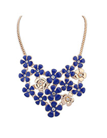 Exquisite Sapphire Blue+gold Color Flower Shape Decorated Hollow Out Short Chain Necklace
