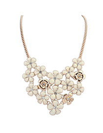 Trendy White+gold Color Flower Shape Diamond Decorated Short Chain Necklace