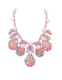 Elegant Pink Gemstone Flower Shape Decorated Waterdrop Pendant Necklace