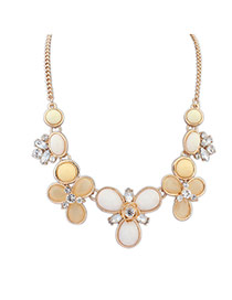 Elegant Beige Round Gemstone Flower Shape Decorated Simple Necklace