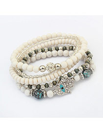 Vintage White Hand Shape&eye Pattern Decorated Multilayer Bracelet