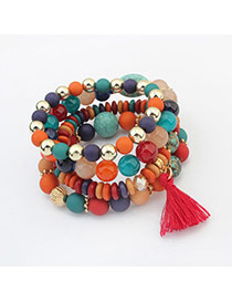 Vintage Multi-color Tassel Pendant Decorated Multilayer Bracelet