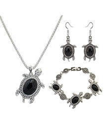 Fashion Black Turtle Shape Pendant Decorated Simple Jewelry Sets