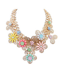 Elegant Multi-color Hollow Out Flower Decorated Patchwork Design Simple Necklace