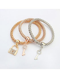 Fashion Multi-color Lock&key Shape Pendant Decorated Color Matching Multi-layer Bracelet