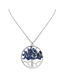 Fashion Blue Irregular Shape Diamond Decorated Hollow Out Design Simple Necklace