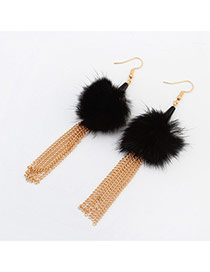Fashion Black Feather Decorated Simple Tassel Earrings