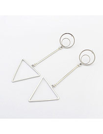 Fashion Silver Color Triangle Decorated Hollow Out Simple Earrings