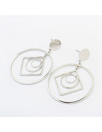 Fashion Silver Color Geometric Shape Decorated Hollow Out Earrings