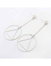 Fashion Silver Color Round Shape&triangle Shape Decorated Long Chain Earrings