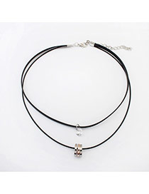 Delicate Gold Color+silver Color Round Shape Pendant Decorated Double Layer Choker