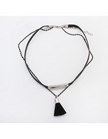 Trendy Black Tassel Pendant Decorated Double Layer Choker