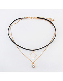 Fashion Gold Color Square Shape Decorated Hollow Out Choker