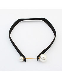 Elegant Black Two Pearls Decorated Short Chain Simple Choker
