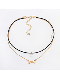 Sweet Gold Color Metal Bowknot Pendant Decorated Double Layer Choker