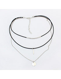 Vintage Silver Color Metal Round Shape Pendant Decorated Multilayer Choker