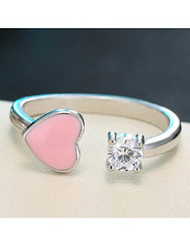 Sweet Silver Color+pink Heart Shape&round Shape Diamond Decorated Opening Ring