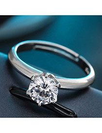 Sweet Silver Color Big Round Shape Diamond Decorated Pure Color Simple Ring