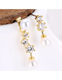 Sweet Gold Color Diamond&pearl Decorated Asymmetric Design Earrings