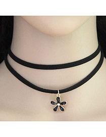 Vintage Black Flower Shape Pendant Decorated Double Layer Short Chain Choker