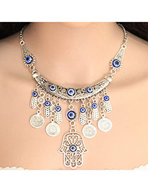 Vintage Blue Plam & Round Shape Pendant Decorated Short Chain Necklace