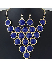 Elegant Blue Pure Color Decorated Round Shape Design Jewelry Sets