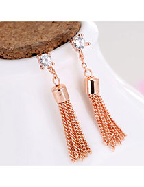 Elegant Rose Gold Round Shape Decorated Metal Tassel Pendant Earrings