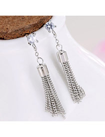 Elegant Silver Color Round Shape Decorated Metal Tassel Pendant Earrings