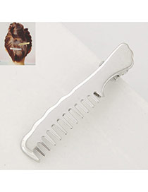 Personlitty Silver Color Comb Shape Decorated Simple Pure Color Hair Clip
