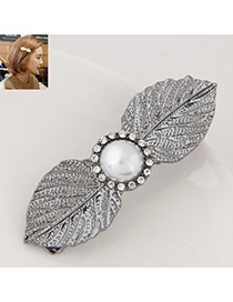 Elegant Gray Round Shape Decorated Leaf Design Simple Hair Cilp