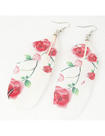 Trendy Red Leaf&flower Pattern Decorated Feather Shape Pendant Earring
