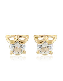 Sweet Gold Color Mask Shape Decorated Round Diamond Earring