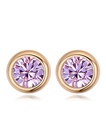 Luxury Champaign Gold+purple Diamond Decorated Simple Round Shape Earring