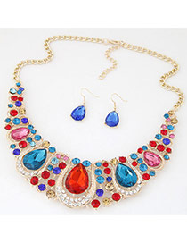 Luxury Multi-color Waterdrop Diamond Decorated Hollow Out Jewelry Sets
