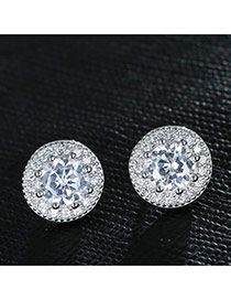 Sweet Silver Color Diamond Decorated Round Shape Earring
