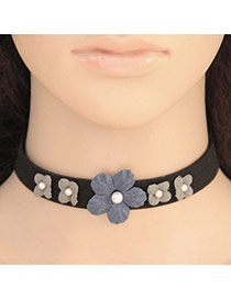 Elegant Gray Flower Decorated Pure Color Chocker