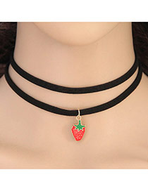 Elegant Red Strawberry Pendant Decorated Double Layer Chocker